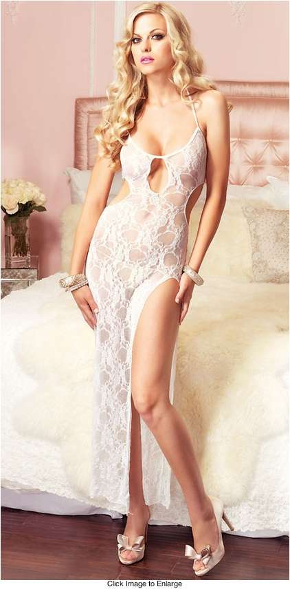 Bridal White Lace Gown with High Slit