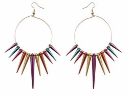 "5"" Long Spike Hoop Earrings in Multi Colors"