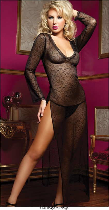 Long Sheer Dress in Floral Lace and Thong