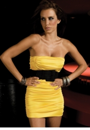 Yellow Strapless Mini Dress with Gathered Silhouette