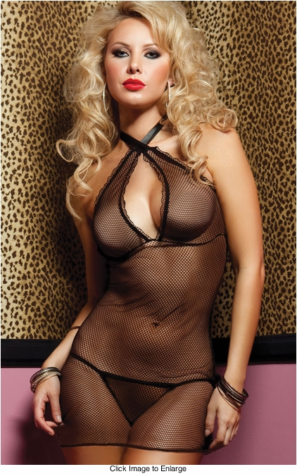 Fishnet Mini Dress with Criss Cross Halter Front and Thong