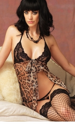 Sexy Leopard and Mesh Babydoll and G-string