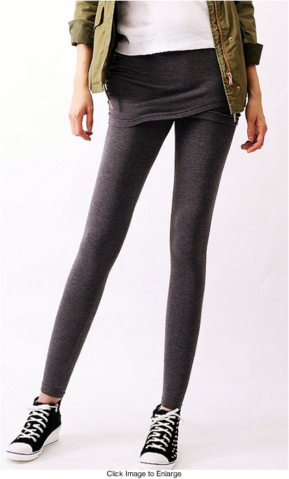 Brushed Cotton Knit Skirted Leggings