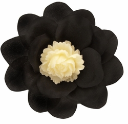 "3.5"" Black Flower Hair Clip with Flower Center"