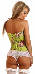 Green Floral Strapless Corset with Lace-Up back