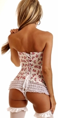 White Floral Strapless Corset with Lace-Up Back