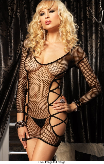 Industrial Net Long Sleeve Mini Dress with Cut Out Sides