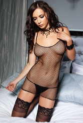 Net Mini Dress with Corset Lace-Up Back