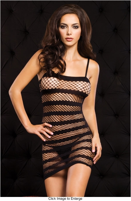 Diamond Net Fishnet Mini Dress with Stripes