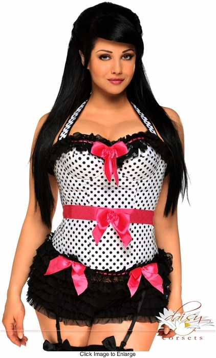 White Polka Dot Rockabilly Corset