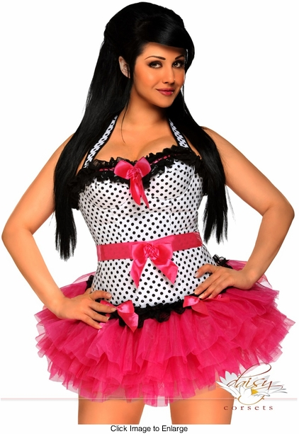 White Polka Dot Rockabilly Corset and Pettiskirt