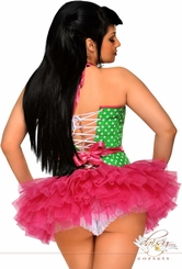 Green Polka Dot Rockabilly Corset and Pettiskirt