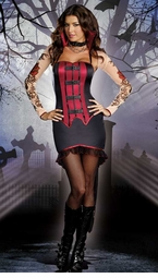 Gothic Tattoo Vampire Costume with Corset Front