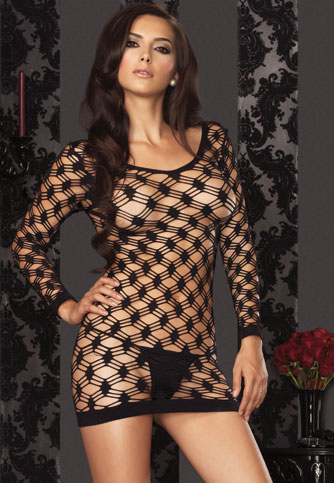 Double Net Long Sleeve Mini Dress