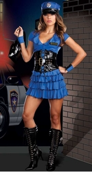 Police Patrol 6-Piece Costume with Waist Cincher
