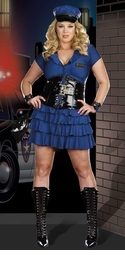 Plus Size Police Patrol 6-Piece Costume with Waist Cincher