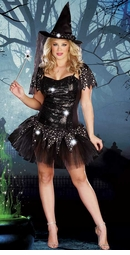 Plus Size Starry Night Witch Costume with Reversible Sequins
