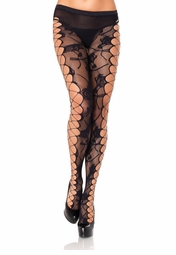 Rose Lace Pantyhose with Net Side