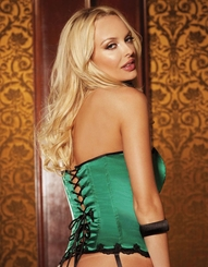 Jade Green Satin Corset with Lace-Up Back