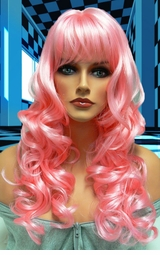 Tousled Bouncy Curl Wig in Light Pink