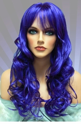 Tousled Bouncy Curl Wig in Dark Blue