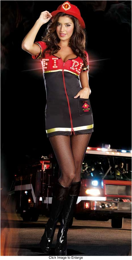 Plus Size Burning Hot Firefighter Costume with Light and Sound