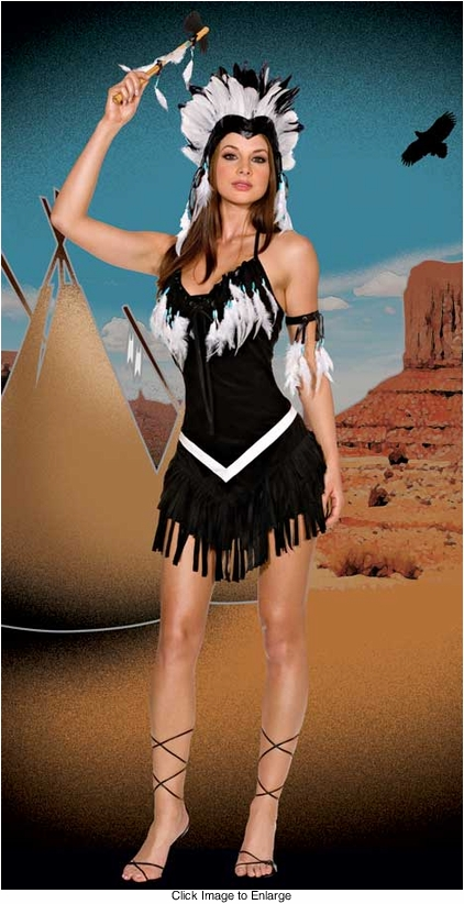 4-Piece Beads and Feathers Indian Warrior Babe Costume