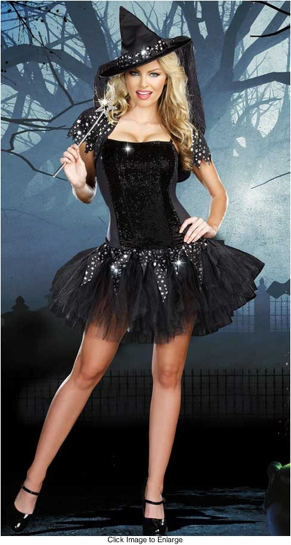 Starry Night Witch Costume with Reversible Sequins in 2 Colors