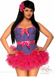Blue Dot Rockabilly Corset and Petticoat