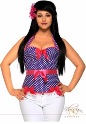 Blue Dot Rockabilly Belted Halter Corset Top
