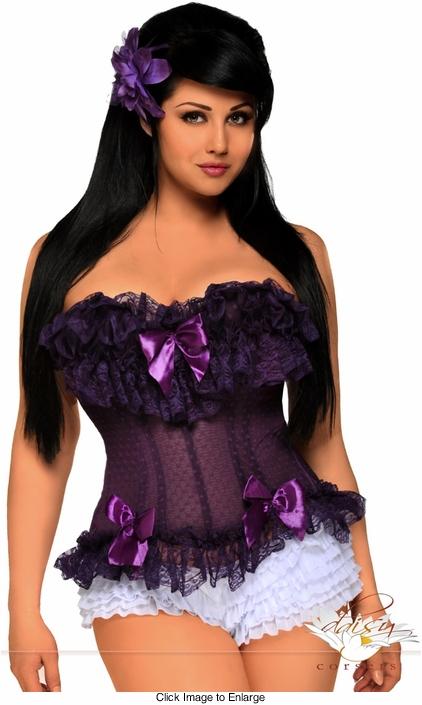 Purple Mesh Corset with Steel Boning