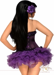 Purple Mesh Underwire Corset and Pettiskirt