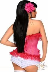 Pink Mesh Corset with Steel Boning