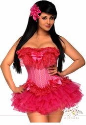 Pink Mesh Corset and Pettiskirt
