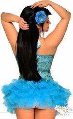 Blue Sequin Embroidered  Corset and Pettiskirt