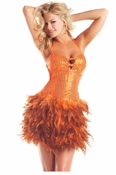 Orange Sequin and Feather Dress