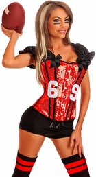 2-Piece Red Football Fantasy Corset Costume