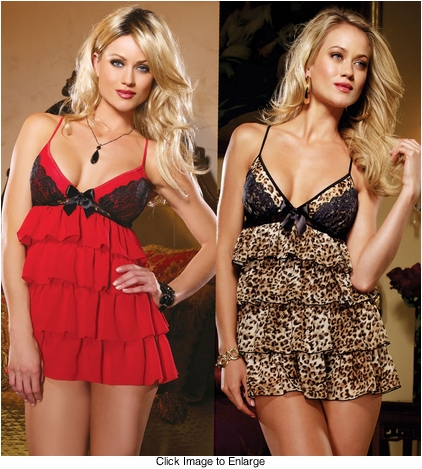 Ruffled Chiffon Babydoll and Thong
