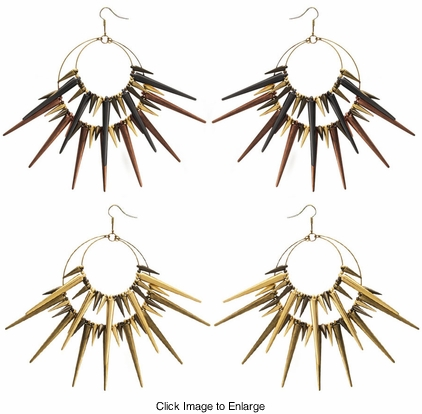 "5"" Fierce Spike Hoop Earrings"