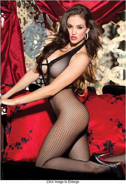 Fishnet Halter Bodystocking with Criss Cross Front