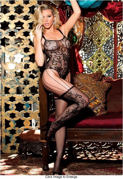 Floral Net Bodysuit with Attached Stockings