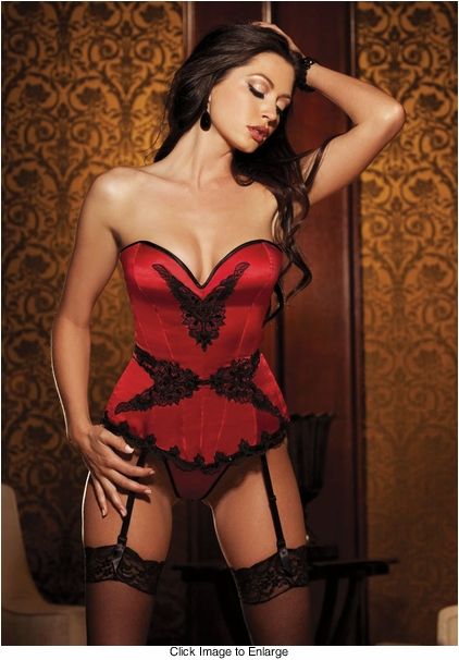 Ruby Red  Satin Corset with Lace-Up Back (available up to size 38)