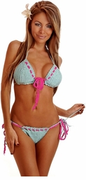 Two-Tone Crochet Pucker Back Light Blue Bikini