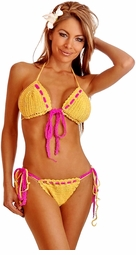 Two-Tone Crochet Pucker Back Yellow Bikini