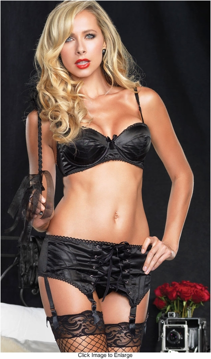 Luxe Zig-zag Stitched Satin Bra and Garterbelt with Corset Front