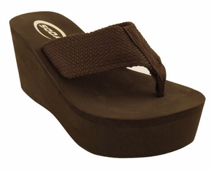 "3.15"" Brown Platform Flip Flops with 1.75"" Front Platform and Woven Straps"
