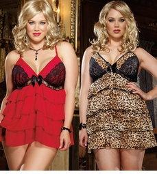 Ruffled Chiffon Plus Size Babydoll and Thong