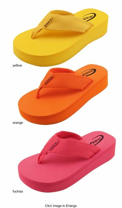 "1.75"" Platform Flip Flops in Citrus Colors"