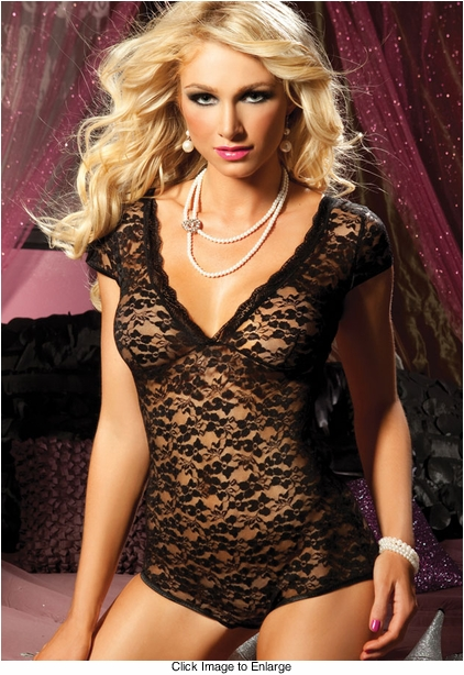 Cap Sleeve Lace Black Bodysuit Lingerie