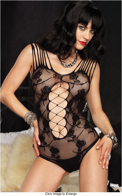 Floral Lace Teddy Lingerie with Shredded Details